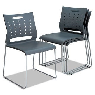 Alera Continental Series Charcoal Gray Perforated Back Stacking Chairs (Set of 4)