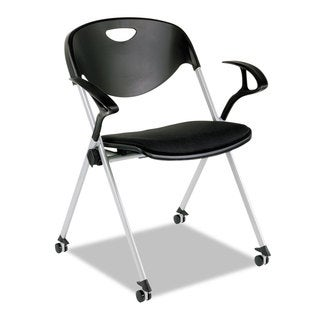 Alera Plus SL Series Black Nesting Stack Chair with Loop Arms and Casters (Set of 2)