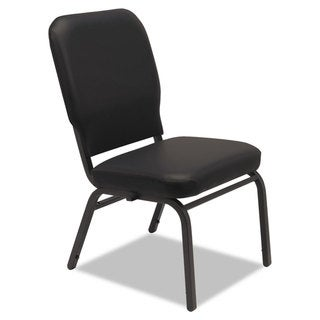 Alera Oversize Black Antimicrobial Vinyl Upholstery Stack Chair (Set of 2)