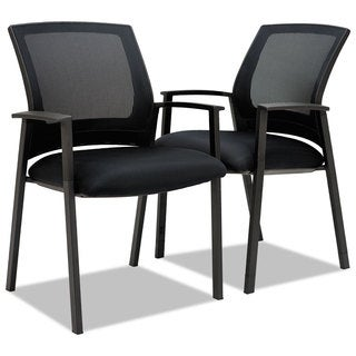 Alera ES Series Black Mesh Stack Chairs (Set of 2)