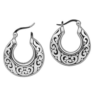 Intricate Ornate Basket Shaped Hoop .925 Silver Earrings (Thailand)