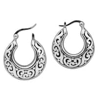 Handmade Intricate Ornate Basket Shaped Hoop .925 Silver Earrings (Thailand)