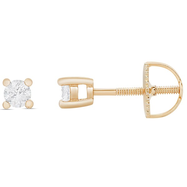 Finesque 1/4ct TDW Round Diamond Solitaire Stud Earrings