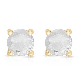 Finesque Sterling Silver or Platinum Over Sterling Silver 1/10 ct TDW Diamond Stud Earrings (I-J, I2-I3)