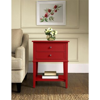 Clay Alder Home Isleton White 2-drawer Accent Table (Option: Red)