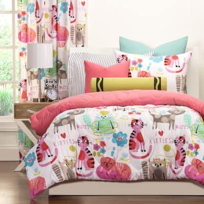 Crayola Purrty Cat Pink Brushed Microfiber Comforter & Sham Set