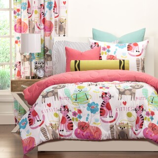 Crayola Purrty Cat Pink Brushed Microfiber 3-piece Comforter Set (2 options available)