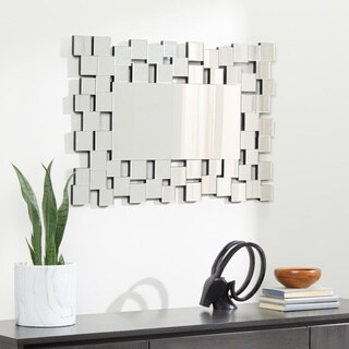Abbyson Aiden Rectangle Wall Mirror - Silver