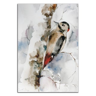 Sophia Rodionov 'Woodpecker' Contemporary Watercolor Painting Giclée on Metal