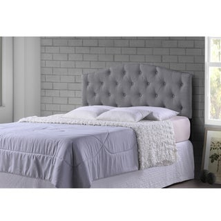 Baxton Studio Whalen Grey Upholstered Button Tufted Headboard