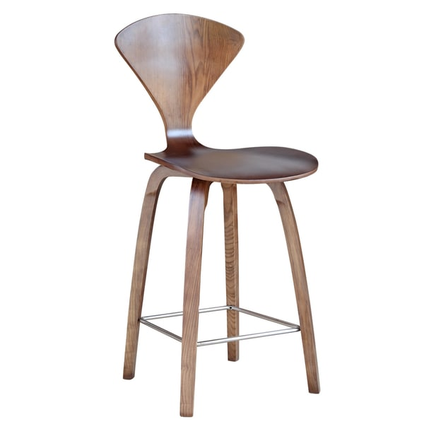 Maxmod Wooden Counter Chair 25 Inch In Walnut Free
