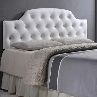 Baxton Studio Weaver White Contemporary Scallop-Cornered Faux Leather Upholstered Button Tufted headboard