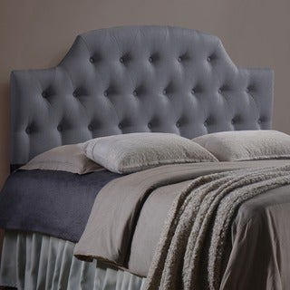 Baxton Studio Baxton Studio Morris Modern and Contemporary Grey Fabric Upholstered Button-tufted Scalloped Headboard