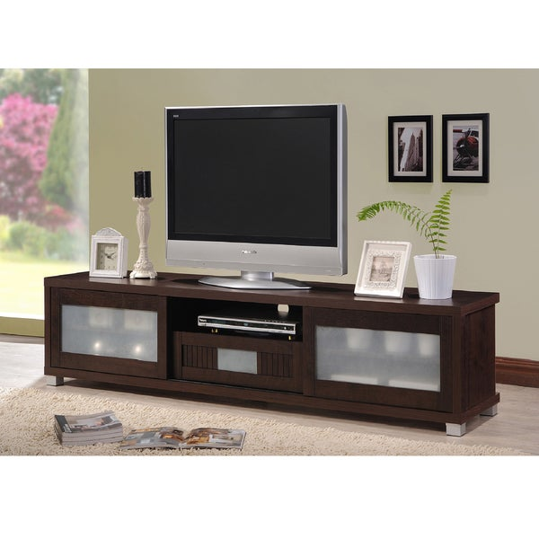 Baxton Studio Temple Contemporary Dark Brown Wood 70-inch TV Cabinet with 2 Sliding Doors and 1 Drawer