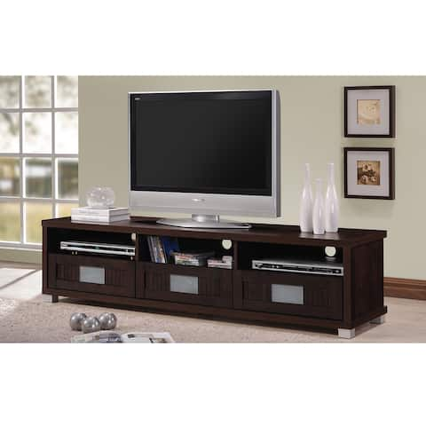 Baxton Studio Taymor Contemporary Dark Brown Wood 63-Inch TV Cabinet with 3-drawer