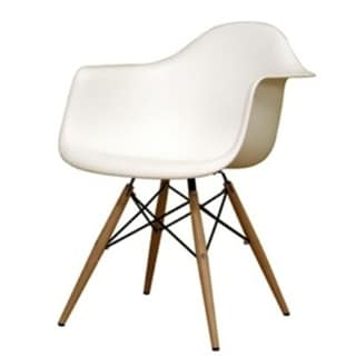 MaxMod Wood Leg White Dining Arm Chair