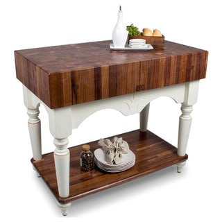 John Boos Calais American Black Walnut Alabaster Base 42 x 24 Work Table and Henckels 13-piece Knife Block Set