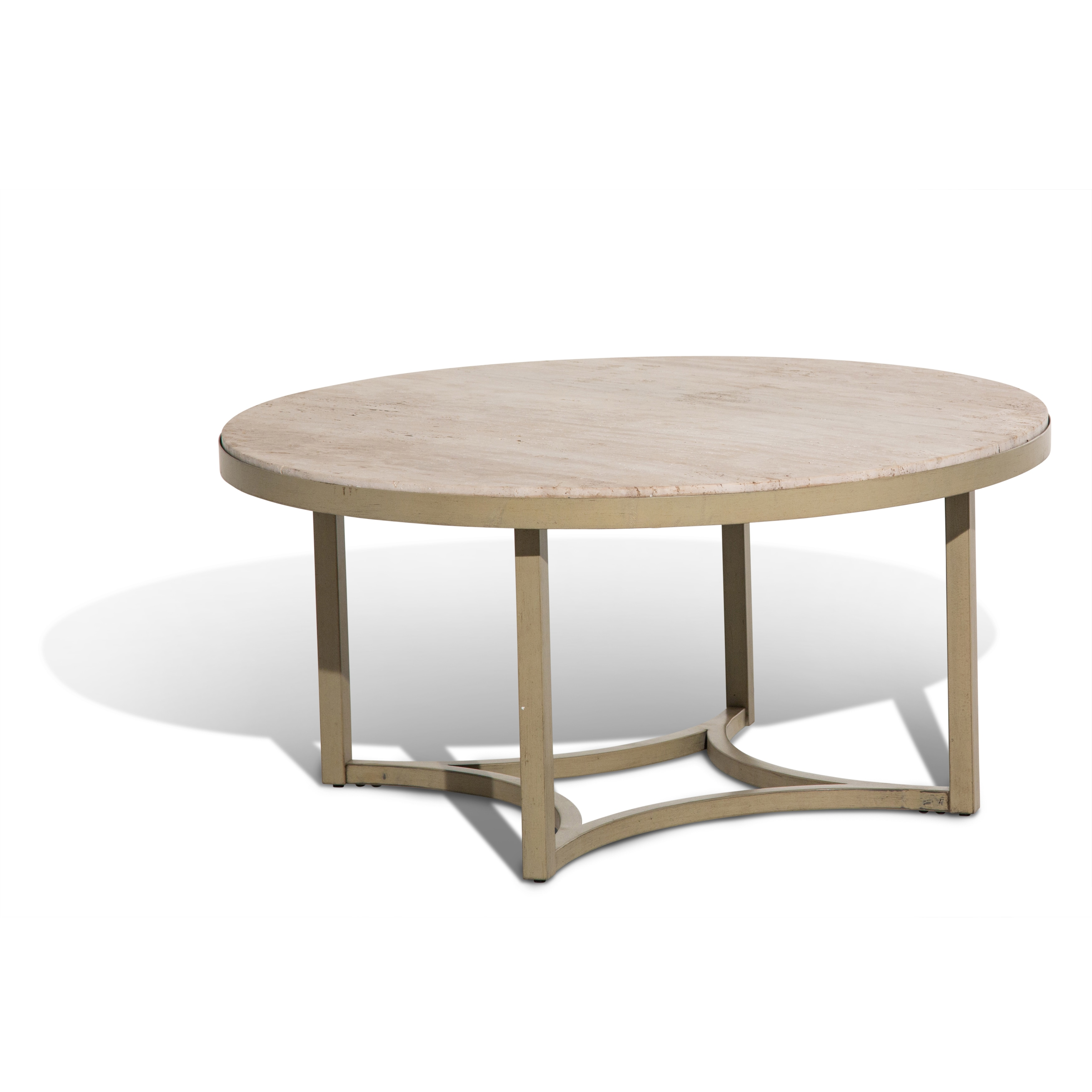 Shop Alta Round Cocktail Table W Travertine Marble Top Free