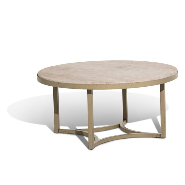 Alta Round Tail Table W Travertine Marble Top Free Shipping Today 10302538