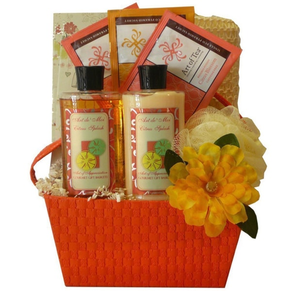 Tranquil Delights Spa Bath and Body Citrus Splash Gift Set Basket - Orange