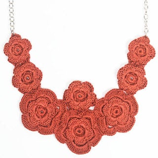 Poppy Field Muted Rose Floral Crocheted Necklace (India)