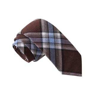 Knot Society Men's Brown Plaid Skinny Tie
