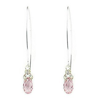 Queenberry Sterling Silver Austrian Crystal Element Crystal Briolette Clear Pink Rose Butterfly Dang