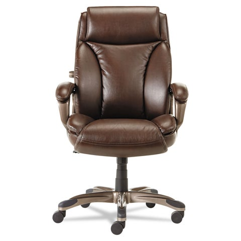 Alera Veon Series Brown Executive High-Back Leather Chair w/ Coil Spring Cushioning