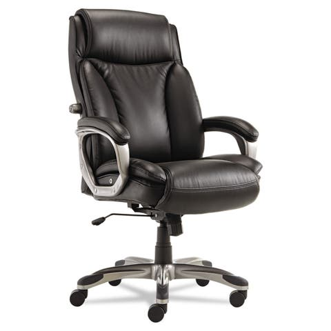 Alera Veon Series Black Executive High-Back Leather Chair w/ Coil Spring Cushioning