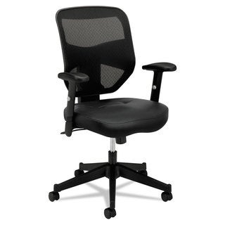 basyx by HON VL531 Series Black Leather High-Back Work Chair with Mesh Back