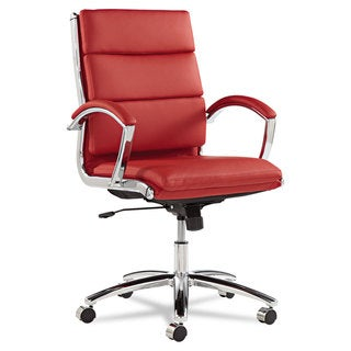 Alera Neratoli Series Red Leather with Chrome Frame Mid-Back Swivel/Tilt Chair