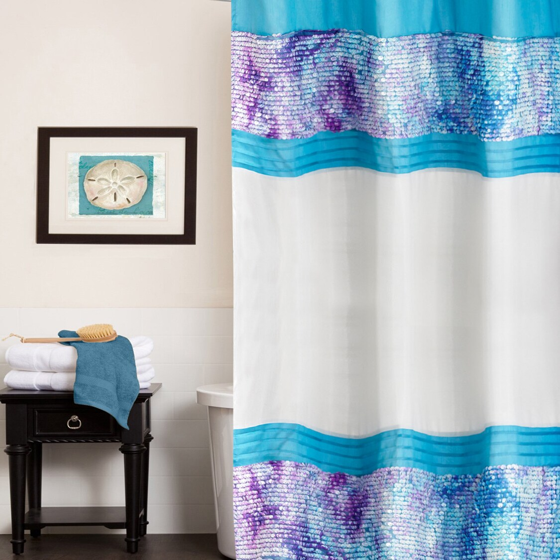 N Shimmering Aqua Seashell Shower Curtain and Hooks Set o...