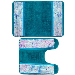 Shimmering Aqua Seashell Bath and Contour Rug Set or Separates