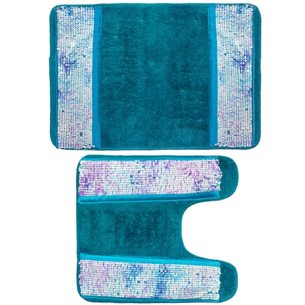 Shop Shimmering Aqua Seashell Bath And Contour Rug Set Or