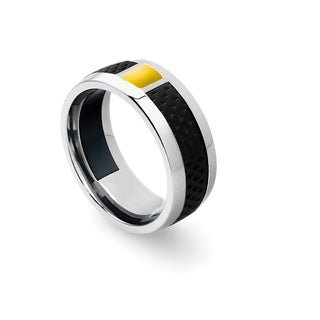 Tonino Lamborghini Il Primo Men's Stainless Steel Yellow Crystal Ring (Size 10)