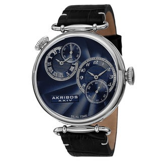 Akribos XXIV Men's Quartz Dual Time Leather Silver-Tone Strap Watch - silver