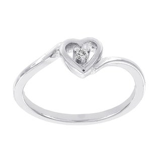 H Star Sterling Silver Diamond Accent Heart Promise Ring