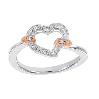 H Star Rose-plated Sterling Silver Diamond Accent Heart Promise Ring (H-I, I1-I2)