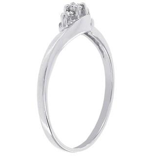 H Star 10k White Gold Diamond Accent 3-stone Promise Ring (I-J, I2-I3)