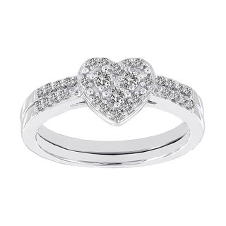 H Star 10k White Gold 1/3ct Diamond Heart Wedding Ring Set (I-J, I2-I3)