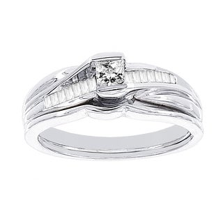 H Star 10k White Gold 3/8ct Diamond Wedding Ring Set (I-J, I2-I3)