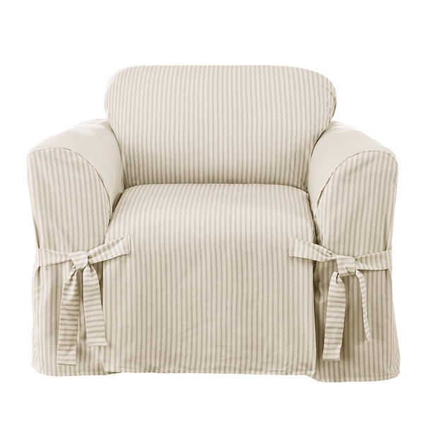 Sure Fit Ticking Stripe One Piece Chair Slipcover Free