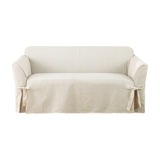Sure Fit Ticking Stripe One Piece Loveseat Slipcover