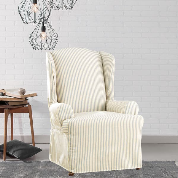 Shop Sure Fit Ticking Stripe Wing Chair Slipcover - Free ...