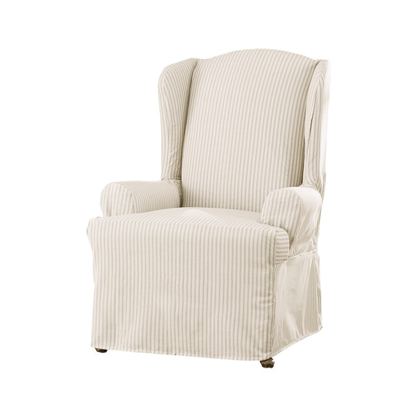 sure fit ticking stripe wing chair slipcover free