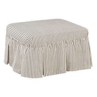 Sure Fit Ticking Stripe Ottoman Slipcover