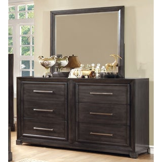 Furniture of America Stoneward Dark Grey 2-piece Dresser and Mirror Set
