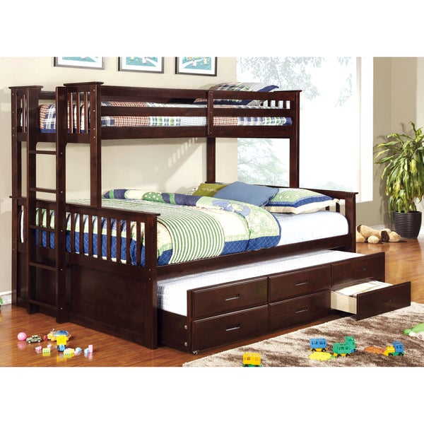furniture of america rodman 2 piece twin over queen bunk bed set with