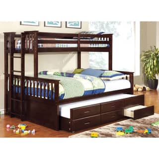 Furniture of America Rodman 2-piece Twin over Queen Bunk Bed Set with Trundle and Drawers|https://ak1.ostkcdn.com/images/products/10302777/P17415892.jpg?impolicy=medium