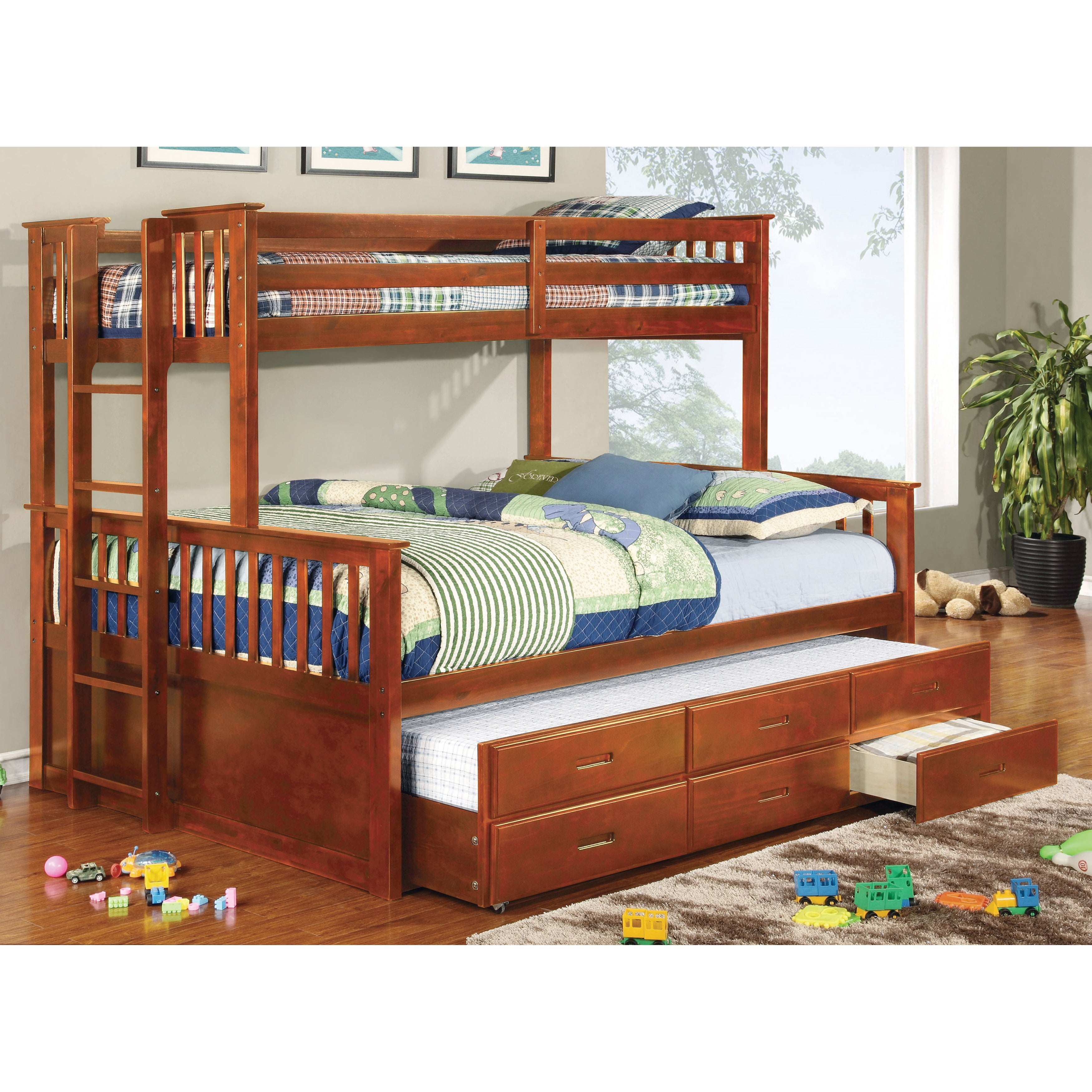 Shop Furniture Of America Rola Mission Twin Xl Queen Bunk Bed With
